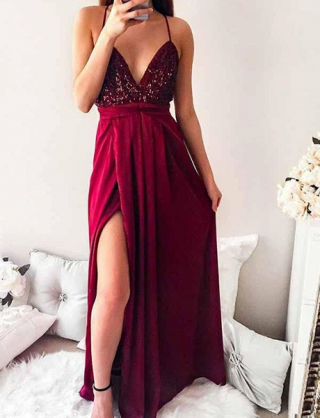 Excellent Spaghetti Straps Sequined A-line Prom Dress_8