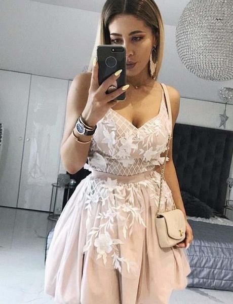 Unique A-Line Appliques Spaghetti Straps Mini Prom Dress_1