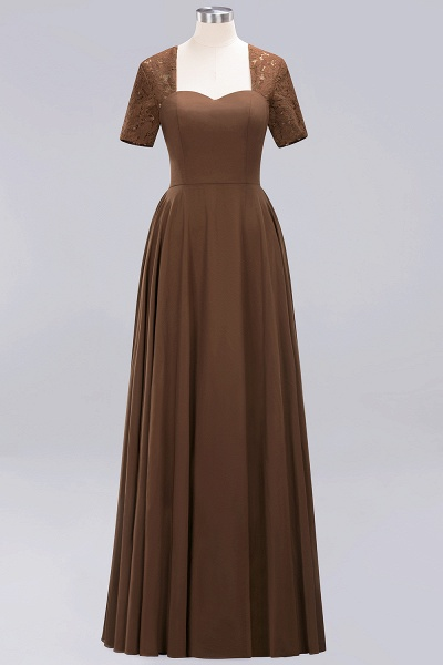 A-Line Chiffon Square Short Sleeves Bridesmaid Dress with Ruffle_8