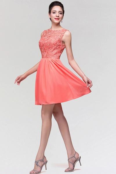 A-Line Chiffon Lace Scoop Sleeveless Ruffles Mini Bridesmaid Dress_5