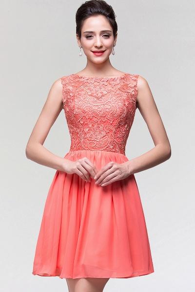 A-Line Chiffon Lace Scoop Sleeveless Ruffles Mini Bridesmaid Dress_1