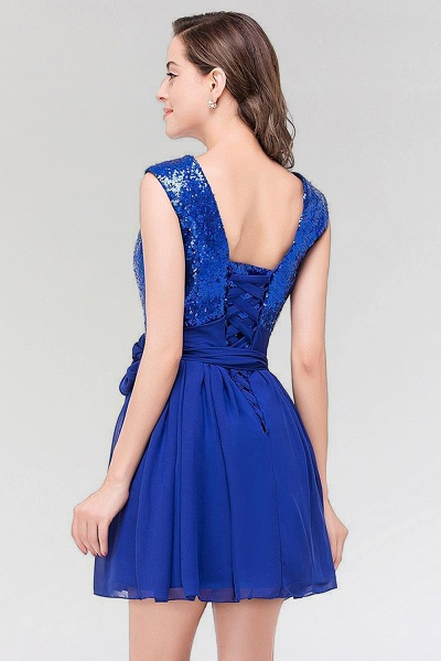 A-line Chiffon Square Sleeveless Bow Ruffles Mini Bridesmaid Dress with Sequins_2