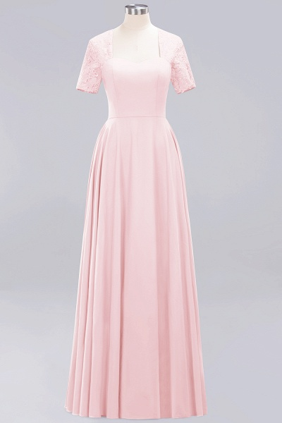 A-Line Chiffon Square Short Sleeves Bridesmaid Dress with Ruffle_2