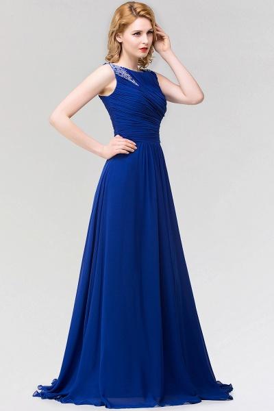 A-line Chiffon Jewel Sleeveless Ruffles Floor-Length Bridesmaid Dress with Beadings_4
