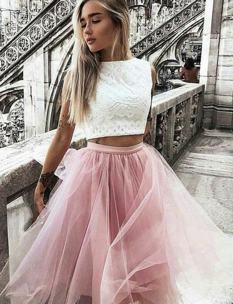 Latest Jewel Tulle A-line Homecoming Dress_1