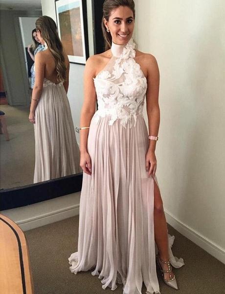 Unique A-Line Split Front High Neck Appliques Sleeveless Floor-Length Prom Dress_1