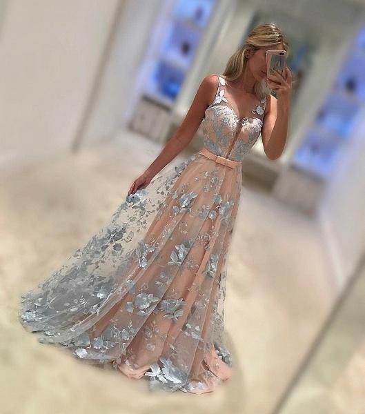 Exquisite V-neck Chiffon Prom Dress_1