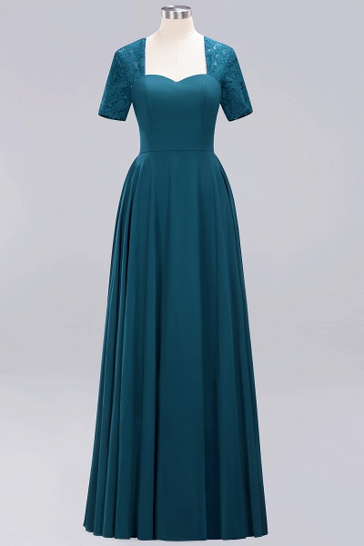 A-Line Chiffon Square Short Sleeves Bridesmaid Dress with Ruffle_18