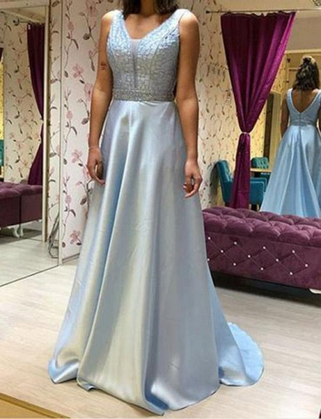Fabulous V-neck Chiffon A-line Prom Dress_1