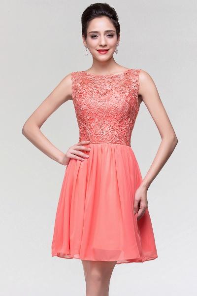 A-Line Chiffon Lace Scoop Sleeveless Ruffles Mini Bridesmaid Dress_3