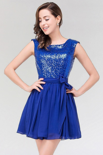 A-line Chiffon Square Sleeveless Bow Ruffles Mini Bridesmaid Dress with Sequins_3