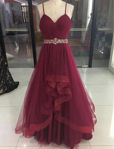 Fashion Tulle A-Line Beading Spaghetti Straps Floor-Length Prom Dress_1