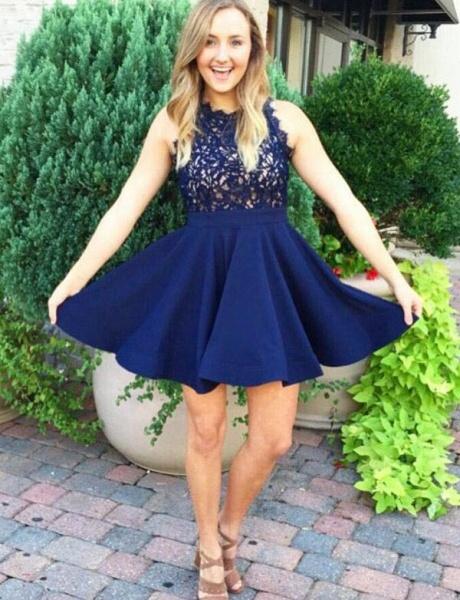 Eye-catching Jewel Lace A-line Homecoming Dress_1