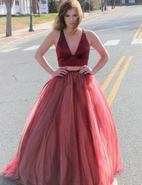 Precious V-neck Tulle Two Pieces Prom Dress_1