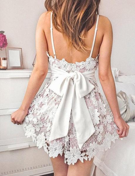 Homecoming Fashion Lace Spaghetti Straps Bowknot Mini A-Line Prom Dress_3