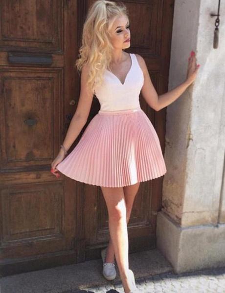 Stylish A-Line V-Neck Sleeveless Straps Short Prom Dress_3