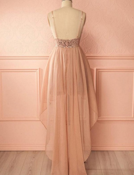 Charming A-Line Sequins Spaghetti Straps V-Neck High Low Prom Homecoming Dress_3