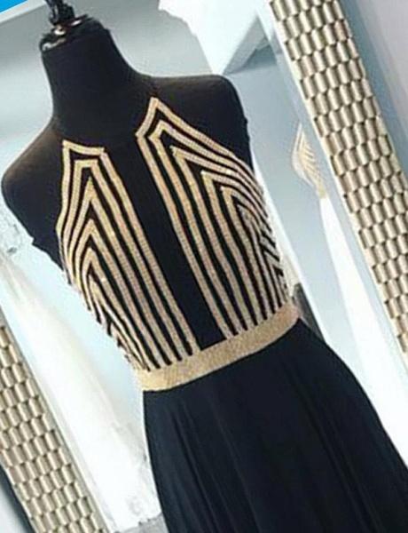 Fashion Sequins A-Line Sleeveless Halter Floor-Length Prom Dress_3
