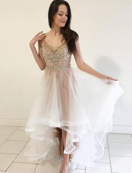 Glamorous Spaghetti Straps A-Line Beading Tulle Homecoming Dress_1