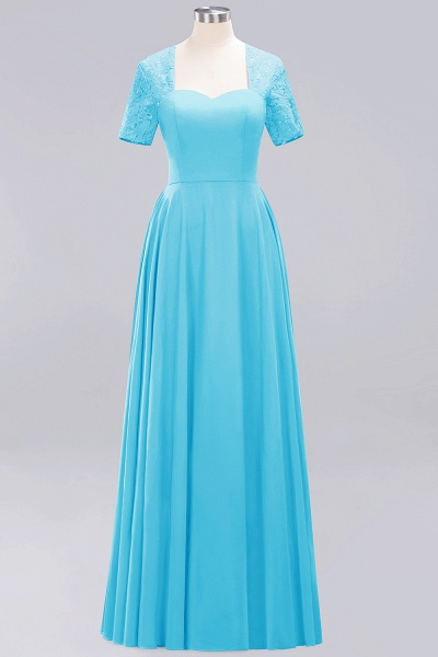 A-Line Chiffon Square Short Sleeves Bridesmaid Dress with Ruffle_16