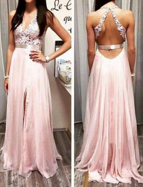Stylish Lace Floor-Length A-Line Split Front V-Neck Appliques Sleeveless Prom Dress_1