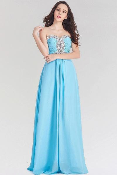 A-line Chiffon Sweetheart Sleeveless Ruffles Floor-Length Bridesmaid Dress with Beadings_1