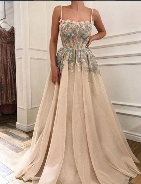 Beautiful Spaghetti Straps Appliques A-line Evening Dress_1