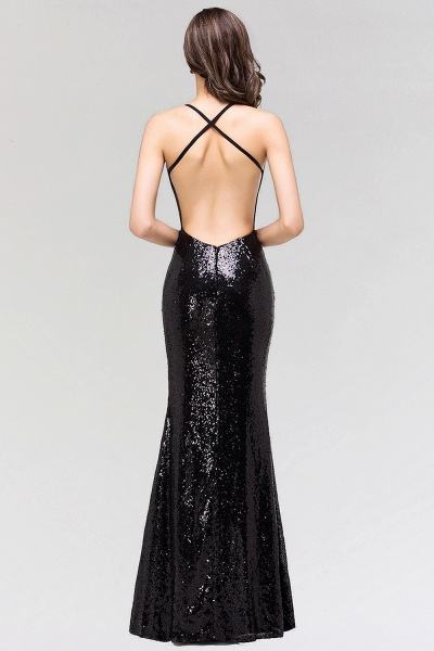 Sexy Mermaid Sequined Spaghetti Straps Backless Floor-Length Bridesmaid Dress_2