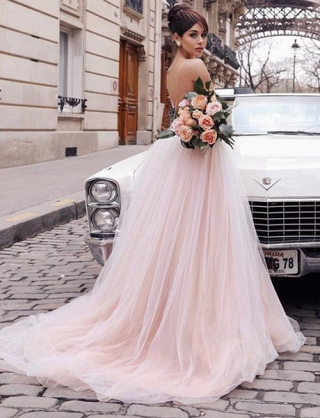 Stunning V-Neck A-Line Appliques Spaghetti Straps Floor-Length Prom Dress_4