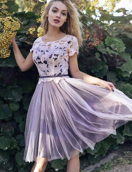 Affordable Scoop Tulle A-line Homecoming Dress_1