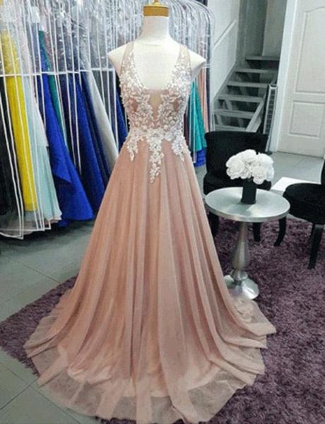 Graceful V-neck Appliques A-line Prom Dress_1