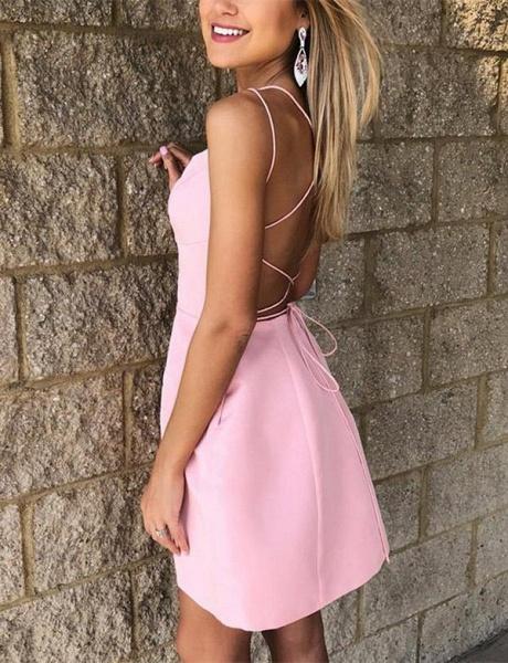 Simple A-Line Spaghetti Straps Pocket Short Prom Dress_3