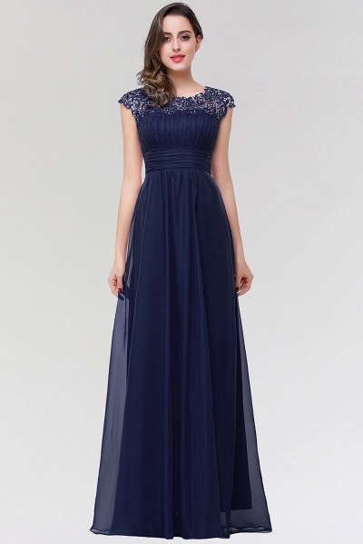 A-line Chiffon Lace Jewel Sleeveless Floor-length Bridesmaid Dresses_1