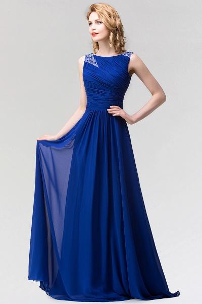 A-line Chiffon Jewel Sleeveless Ruffles Floor-Length Bridesmaid Dress with Beadings_3