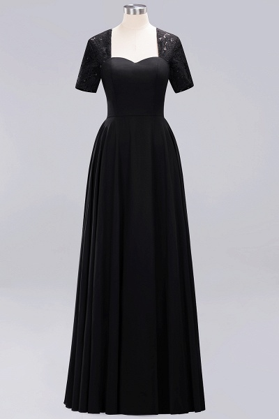 A-Line Chiffon Square Short Sleeves Bridesmaid Dress with Ruffle_20