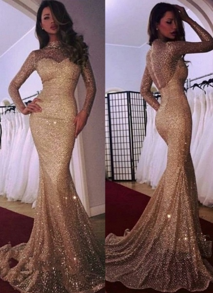 Modest High Neck Sequined Mermaid Evening Dress_1
