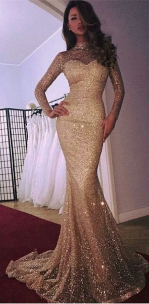 Modest High Neck Sequined Mermaid Evening Dress_4