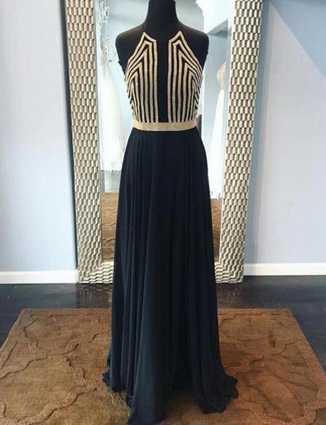 Fashion Sequins A-Line Sleeveless Halter Floor-Length Prom Dress_1