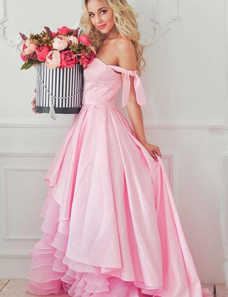Fashion Tiered A-Line Sweetheart Off-the-Shoulder High Low Prom Dress_3