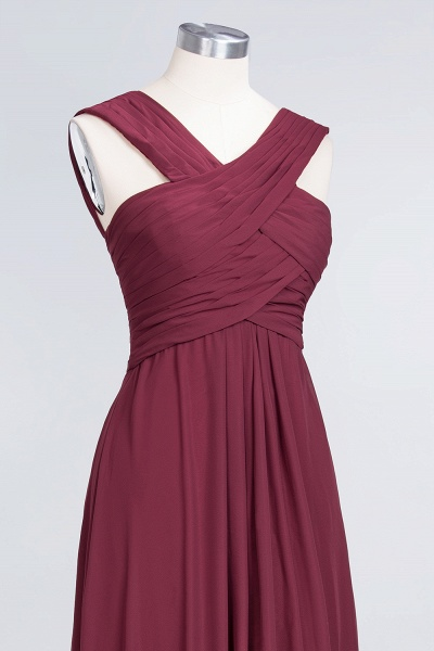 A-Line Chiffon V-Neck Straps Sleeveless Floor-Length Bridesmaid Dress with Ruffles_5
