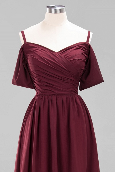 A-Line Chiffon V-Neck Spaghetti Straps Short-Sleeves Floor-Length Bridesmaid Dresses with Ruffles_45