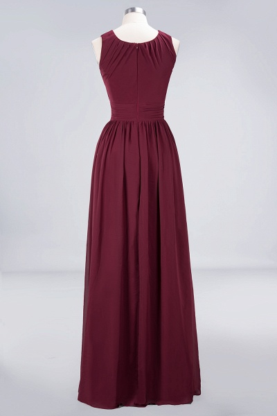 A-Line Chiffon Round-Neck Sleeveless Floor-Length Bridesmaid Dress with Ruffles_9