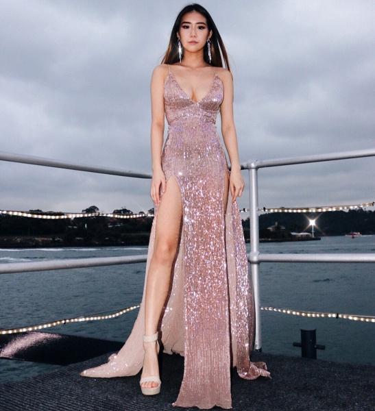 Graceful V-neck Column Prom Dress_1