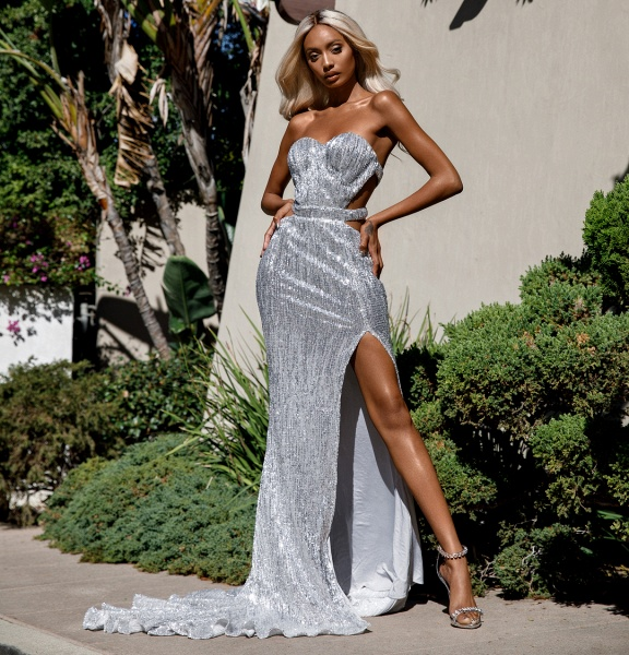 Attractive Sweetheart Sequined Mermaid Prom Dress_1