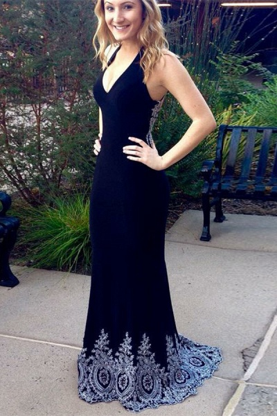 Amazing Halter Spandex Column Prom Dress_1