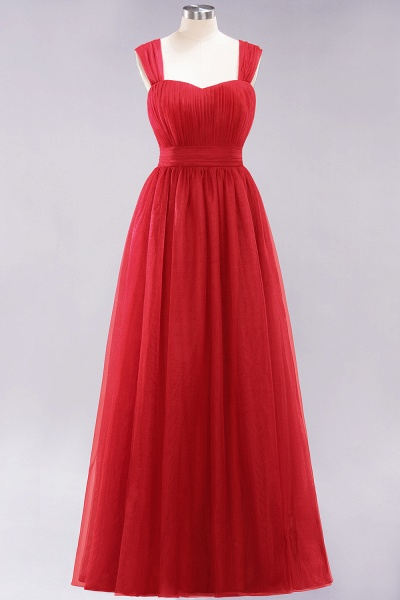 A-Line Chiffon Sweetheart Straps Sleeves Floor-Length Bridesmaid Dresses with Ruffles_8