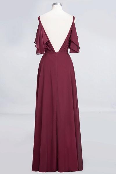 A-Line Chiffon V-Neck Straps Sleeveless Ruffles Floor-Length Bridesmaid Dress with Pearls_7