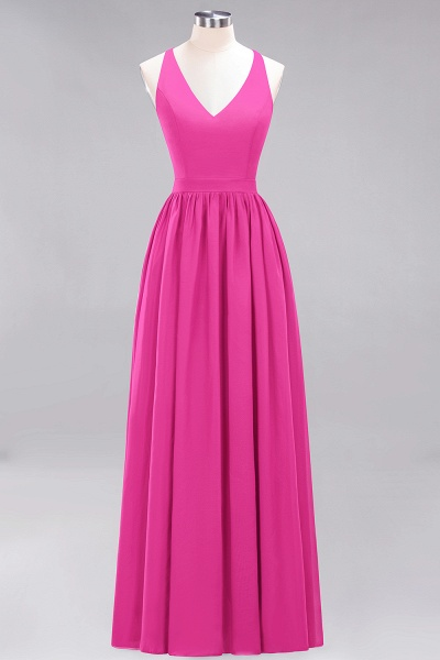 BM0152 Chiffon Lace V-Neck Sleeveless Straps Floor Length Bridesmaid Dress_9