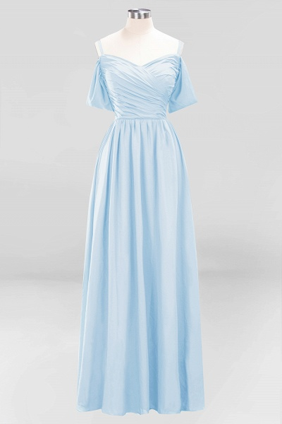 A-Line Chiffon V-Neck Spaghetti Straps Short-Sleeves Floor-Length Bridesmaid Dresses with Ruffles_22