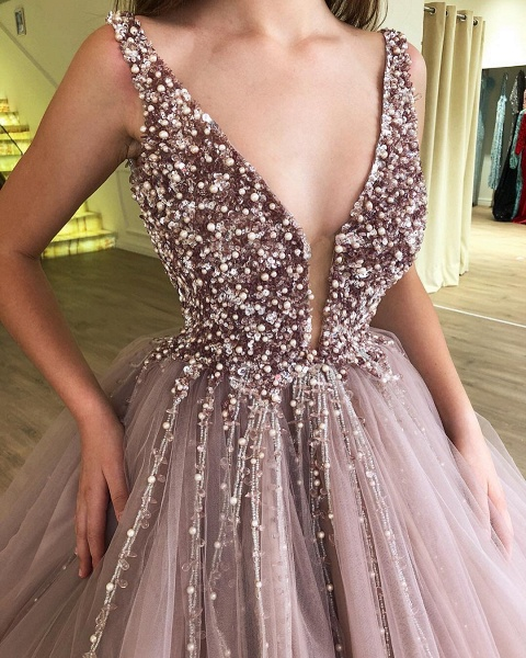 Amazing Straps Tulle Ball Gown Prom Dress_3